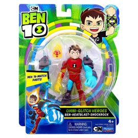 Бен-Огнен-ШокРок (BEN 10) Omni-Glitch Heroes: Ben-Heatblast-Shock Rock 76142