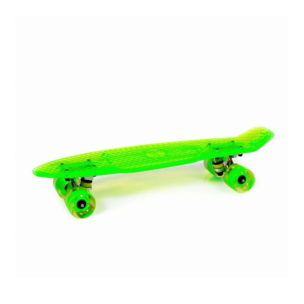 """Скейтборд с LED светещи колела Casper 22"""" прозрачно зелен"""