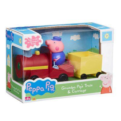 Пепа,Дядо Прасе и влакче Peppa Pig Grandpa Pig's Train and Carriage