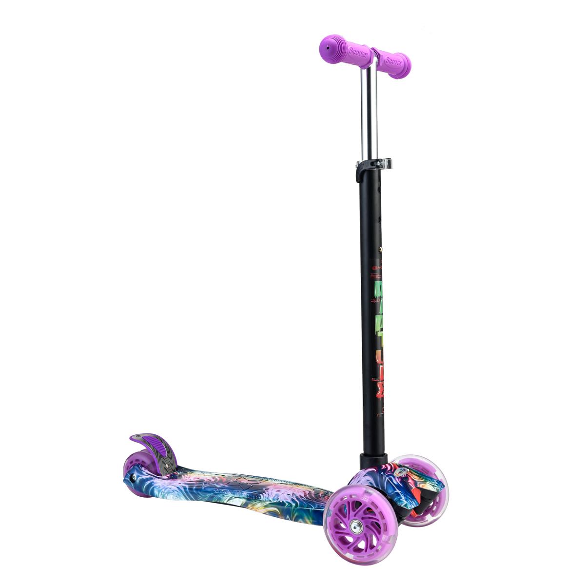 Rapture Purple лилава многоцветна тротинетка със светещи колела